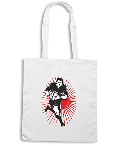 T-Shirtshock - Borsa Shopping T0992 rugby player sport Bianco