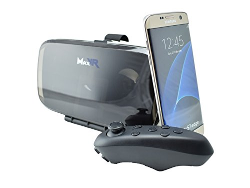 MaxVR Virtual Reality Brille, 3D-Brille, VR headset für alle Smartphones: Samsung, iPhone, Sony, LG, Huawei, HTC. Universal Virtuelle Realität Headset Gaming Video + Bluetooth Fernbedienung + PDF Datei mit insider Tipps