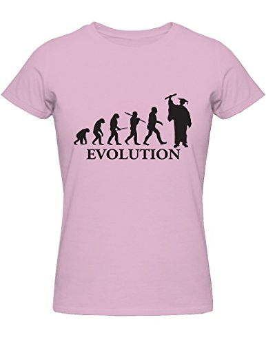 T-Shirt Evolution Laurea (per Uomo e per Donna). (Rosa, Medium Donna)