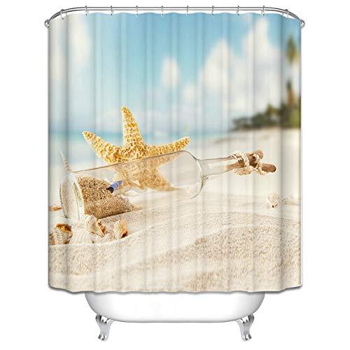 SonMo Duschvorhang Polyester Bunt Blickdicht 3D Wasser Beständig Seestern Driftflasche Wasserdicht Anti-Bakteriell Anti-Schimmel Bad Vorhang für Badewanne Duschvorhangringen Trennwand 165X180CM