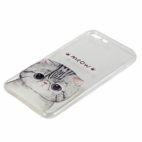 Custodia iPhone 7 Plus Silicone, Custodia Cover per iPhone 7Plus in Silicone Transparente, JAWSEU Creativo Disegno Ultra Sottile Slim Cristallo Chiaro Custodia per iPhone 7 Plus Protettiva Bumper Case Gattino