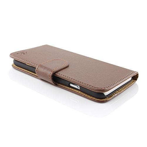 Apple iPhone 6 / 6s Handyhülle von original UrCover® in der Wallet Edition Schutzhülle Edel Case Cover Etui Grün Braun