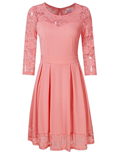 KoJooin Damen Elegant Kleider Spitzenkleid Langarm Cocktailkleid Knielang Rockabilly Kleid Pink Rosa...