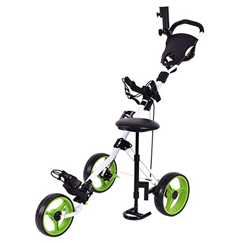 Tangkula Golf Cart Swivel Foldable 3 Wheel Push Pull Cart Golf Trolley Seat Scoreboard Bag Golf Push Cart