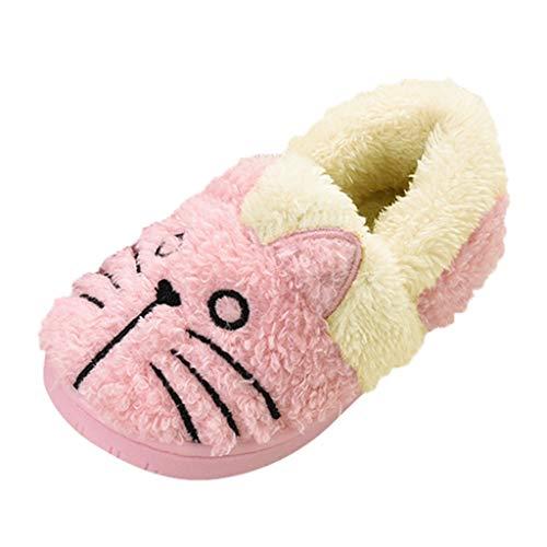 2019 Nuovo Inverno Pantofole Donna - Home Morbido Antiscivolo Cotone Scarpe in Casa Caldo Peluche Camera da Letto Casa Pattini Gatto dei Cartoni Animati(16-17,Rosa)