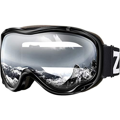 ZIONOR Maschera Sci Occhiali da Sci Snowboard a Specchio con Protezione UV OTG Occhiali da Neve Anti-Nebbia Doppia Lente per Uomo Donna Giovani