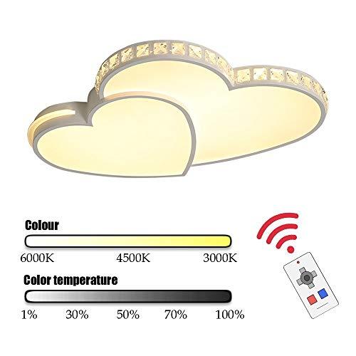 zZZ Herzform Moderne Acryl Metall-Deckenleuchte LED-Leuchter Entfärbung mit Fernbedienung einstellbar Schlafzimmer Kinderzimmer Schöne, helle und Gute Qualität (Farbe : Warmes Licht)