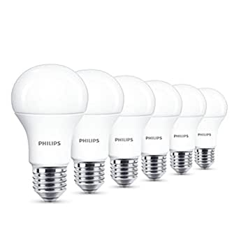 Philips LED E27 Edison Screw Light Bulbs, Frosted, 13 W (100 W) - Warm White, Pack of 6