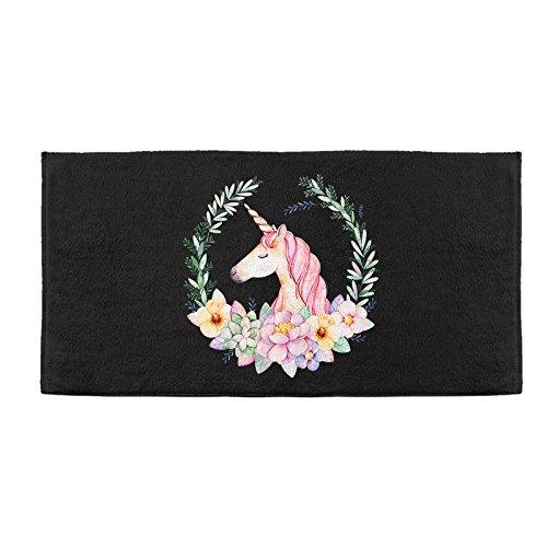 Mangeoo unicorn dream girl cuore design originale telo da spiaggia in fibra di bambù home daily asciugamano da bagno 140x70cm,unicorn nero,140x70cm