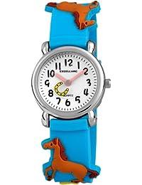 Excellanc 407030000009 - Reloj analógico unisex de cuarzo con correa de plástico azul