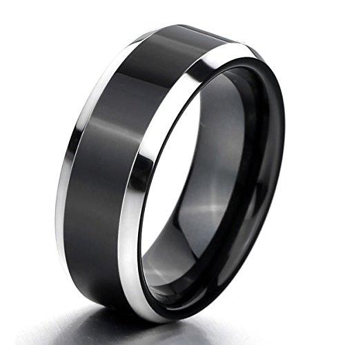 MunkiMix Wolframcarbid Wolfram Ring Band Silber Ton Schwarz Bequeme Passform Hochzeit Größe 57 (18.1) Herren (Herren Silber-wolfram-ringe)