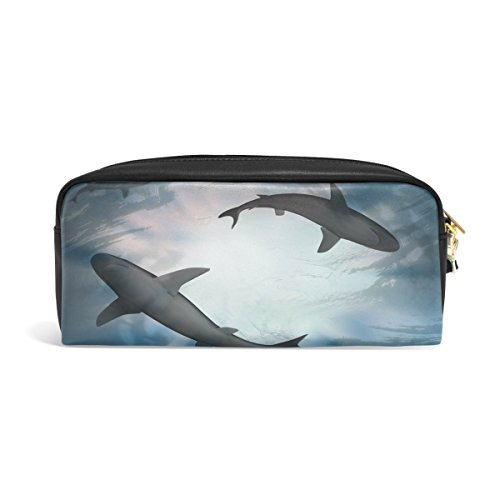Domoko unter blau Wasser Shark PU Leder Pen Pouch Federmappe Fall Make-Up Kosmetik reisen Schule Tasche - Wasser Shark