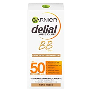 Garnier Delial BB Sun Crema Protector Solar con Color Especial Rostro y Escote IP50+ con Vitamina E – 50 ml