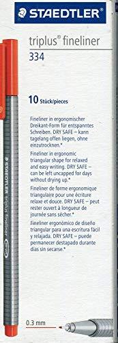 Staedtler 334-2 Triplus Fineliner (Dreikant, Superfeine, Metallgefasste Spitze, Linienbreite ca. 0,3 mm, 10 Stück) rot
