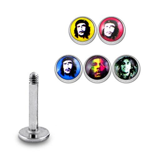 1 Acheté 5 Gratuits ! Bijou Piercing pour Lèvre Labret avec boule Logo 16G(1.2mm) en Acier chirurgical avec 5 pièces interchangeables