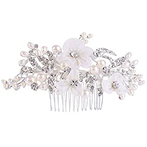 Clearine Damen Böhmisch Künstliche Perlen Braut Kristall Handarbeit Blume Delicate Haarkamm Haarschmuck Ivory-Farbe
