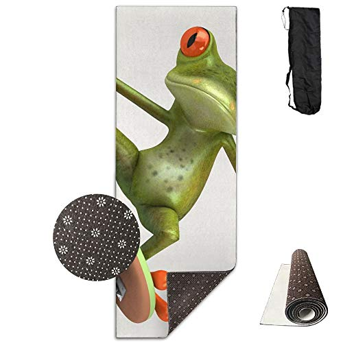FGRYGF Painting Frog Playing Skateboard Yoga Mat, Advanced Yoga Mat, Non,Slip Lining, Easy to Clean, Latex,Free, Lightweight and Durable, Long 180 Width 61cm