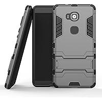 "MOONCASE Huawei G8 Funda, [Heavy Duty] Híbrida Rugged Armor Case Choque Absorción Protección Dual Layer Bumper Carcasa con pata de Cabra para Huawei G7 Plus / G8 / GX8 (5.5"") Gris"