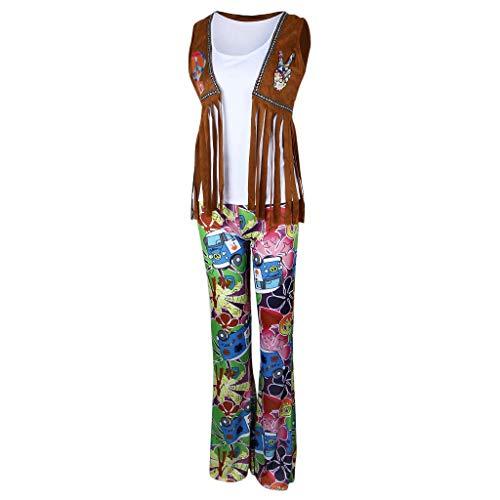 Tubayia Damen Herren Flower Power Hippie Kostüm Vintage Disco Kostümoutfit für Nachtclub Musikfestival