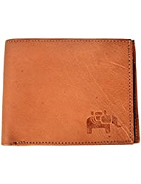 Tise 100% Genuine Goat Leather Camel Brown Color Bifold Leather Wallet For Men And Boys