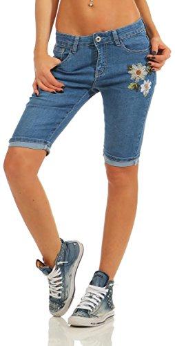 11415 Fashion4Young Damen Jeans Bermuda Slim-Fit Shorts kurze Hose Stickerei  Panty Stretch Boho- 95b276db99