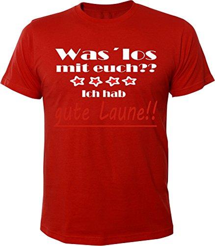 Mister Merchandise Herren Men T-Shirt Gute Laune - Was ist los mit euch? Tee Shirt bedruckt Rot
