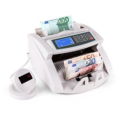 Oneconcept buffet - contabanconote automatico, conta soldi, controllo uv banconote false, riconoscimento magnetico, fino a 1000 banconote/minuto, funzione rotolo, schermo led, bianco