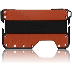 adraw étui pour Cartes de crédit en Cuir et Aluminium   RFID Blocage (Jet Black/Whiskey Brun)
