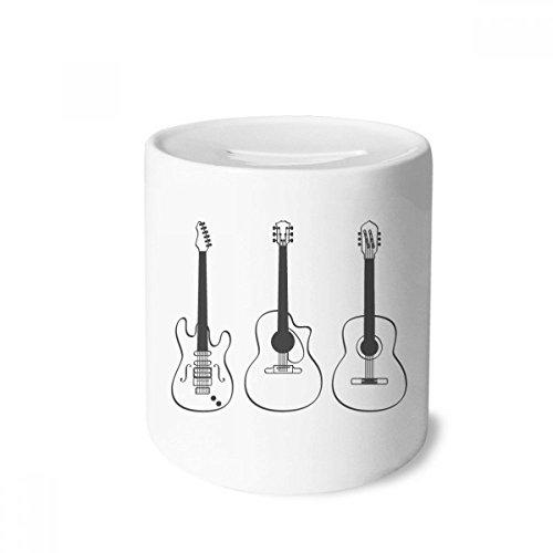 DIYthinker Gitarre Musikinstrumente Kombination Gitarre Spardose Sparkassen Keramik Münzfach Kinder Erwachsene 3.5 Zoll in Height, 3.1 Zoll in Duruchmesser Mehrfarbig