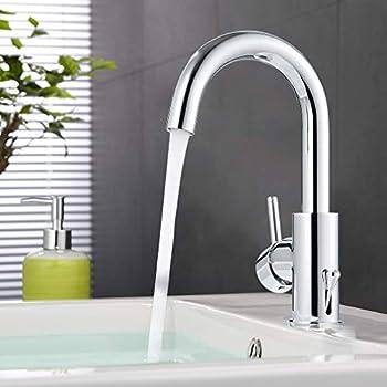 Ubeegol 360 girevole rubinetto lavabo alto da bagno rubinetto cromato miscelatore monocomando - Rubinetto bagno alto ...