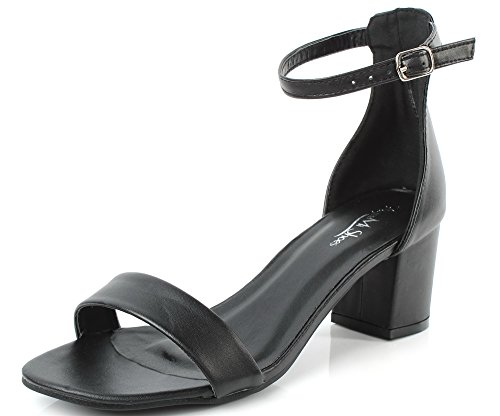 AgeeMi Shoes Damen Quadratisch Zehe Schnalle Kitten Heel Blockabsatz Sandalen,EuL18 Schwarz 37 Kitten-sandalen