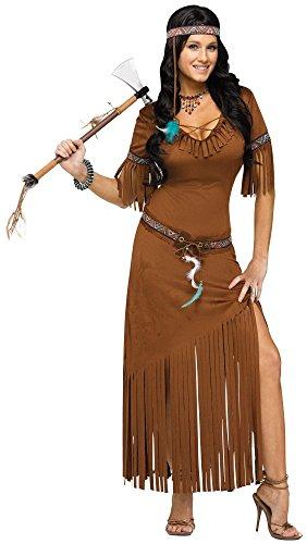 Damen Kostüm - Indian Summer - Indianerin Squaw Western Indianer langes Kleid, (Indian Squaw Kostüme)