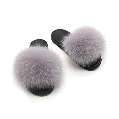 Twgdh sandali infradito in pelliccia sintetica flip flop da donna per interni slip on mega fluffy sandali con ciabatte,gray,36