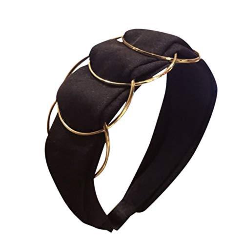 cinnamou Damen Stirnbänder - Goldener Ring Kreuzstichstoff mit breiter Krempe Stirnband Damen schwarz,Goldener Ring Kreuzstich Stoff breitkrempiges Stirnband Stirnband Damen Velvet Bow Headband
