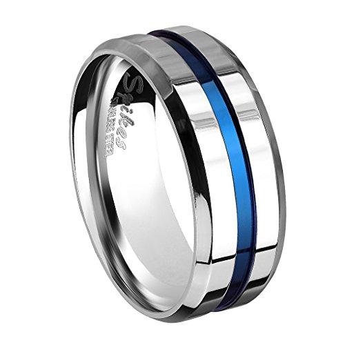 Piersando Herren Band Ring Bandring Edelstahl poliert Zwei Ton Silber mit blauen Inlay Männer Biker Rocker massiv breit Herrenring Größe 60 (19.1)
