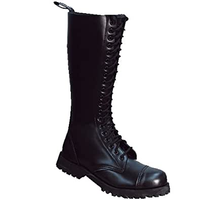 Bondage London - 20-Loch Boots Stiefel Rangers Schwarz Größe 38 (UK4)