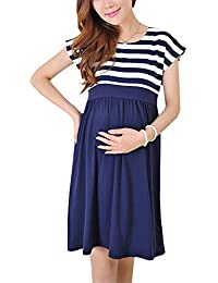BESTHOO Embarazada Vestidos Mujer Spring Verano Ropa Maternidad Embarazada Vestidos Patchwork A Rayas Vestido Manga Corta