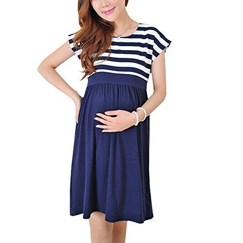 BESTHOO Umstandskleid Damen Kleid Kurzarm Umstandsbekleidung Große Größen Stretch Umstandskleid Patchwork Gestreift Mutterschaft Kleid (Mutterschaft Fancy Dress)