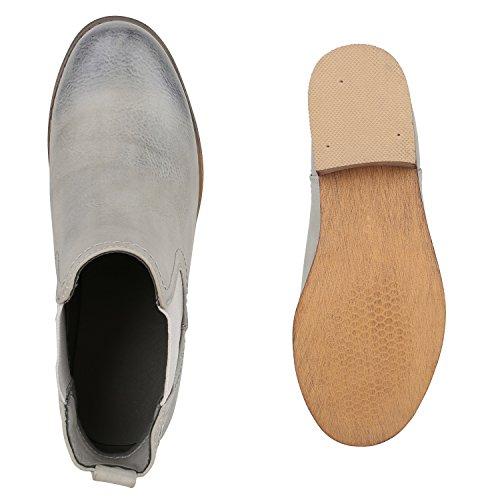 Stiefelparadies Damen Stiefeletten Velours Chelsea Boots Leder-Optik Booties London Style Übergrößen Gr. 36-42 Blockabsatz Schuhe Flandell Hellgrau
