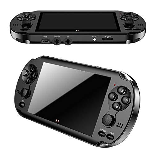 DXY Doppel-Rocker-Konsole-Spielmaschine 4,3-Zoll-PSP HD MP5-Spielkonsole Eingebaute Mehrere Simulatoren, der Stärkste Chip, Unterstützen Zehntausende von Spielen, TF-Karte 64G-Erweiterung,Black (Elektronische Karte Spiele Handheld)