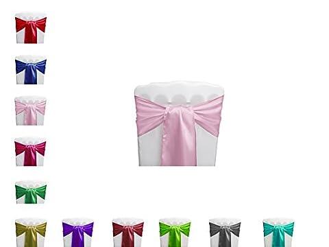 PONA ® Lot de 10 Nœuds de chaise en Satin avec bords ourlés - Rose clair - noeud mariage cérémonie réception anniversaire fête décoration ruban