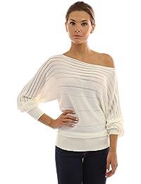 PattyBoutik Damen One Shoulder Pullover mit Boot Auschnitt und Fledermaus  Ärmeln d8d6fa369a