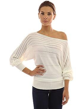 PattyBoutik Mujer de encendido/apagado un hombro suéter semitransparente
