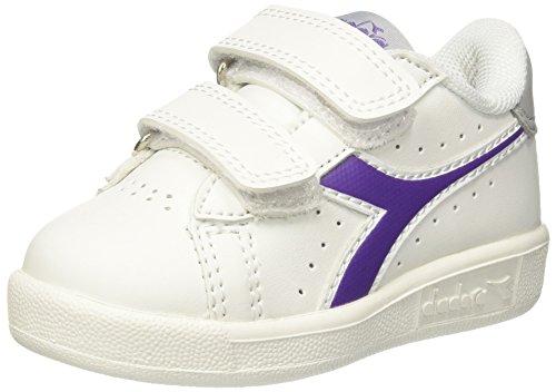 Diadora game p td, sneaker bambino, bianco (bianco viola), 25 eu