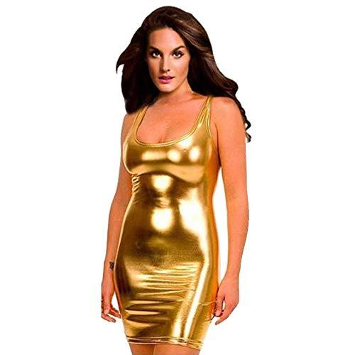Ansenesna Reizwäsche Damen Erotik Leder Kleid Babydoll Clubwear Frauen Leidenschaft Versuchung Nachtwäsche (Gold) -