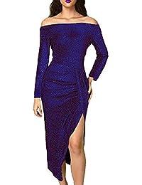 d2a05e270d7e76 Damen Schulterfrei Midi Kleid Glänzend Kleider Elegant Cocktailkleid 3/4 Arm  Ballkleid Hoch Geschnitten Partykleid