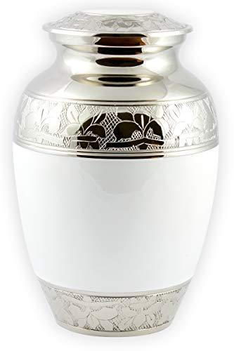 UrnsWithLove Urna de cremación para cenizas, urna blanca mediana de 20 cm