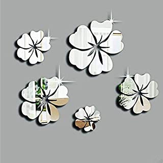 Wall Stickers 3D Mirror Floral Art Design Decal DIY Self-Adhesive Wall Decoration Removable Wallpaper Vinyl Sticker for Home Living Room Bedroom Bathroom Kitchen Decor Mural Quotes Fashion Amaone