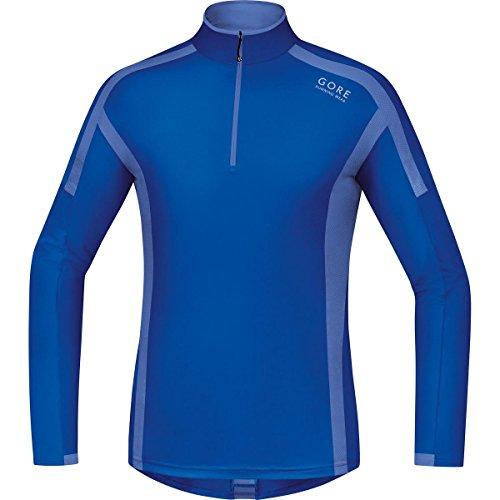 GORE RUNNING WEAR, Maglia Corsa Uomo, Maniche lunghe, Comoda e Calda, GORE Selected Fabrics, AIR Zip long, Taglia M, Blu, SMZAIR606504