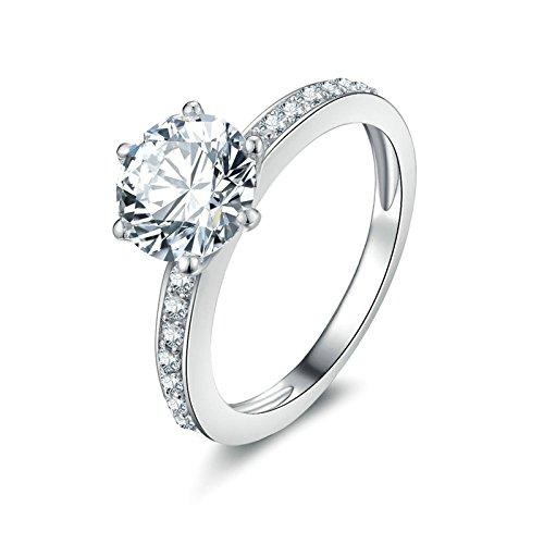 Daesar 925 Silber Ring Damen 6-Steg-Krappenfassung Rund Brillant Weiß Strass Zirkonia Ehering...
